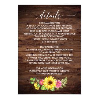 Land-Sonnenblume-Hochzeits-Details Karte