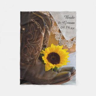 Land-Sonnenblume und Spitze-Western-Hochzeit Fleecedecke