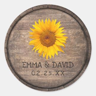 Land-Sonnenblume-Wein-Fass-Hochzeit danken Ihnen Runder Aufkleber