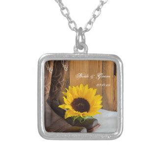 Land-Sonnenblume-Western-Hochzeit Halskette Mit Quadratischem Anhänger
