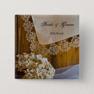 Land-Spitze und Blumen, die Knopf Wedding sind Quadratischer Button 5,1 Cm