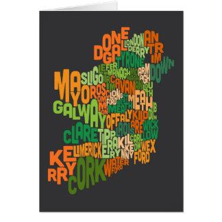 Landkreis-Textabbildung Irlands Eire Grußkarte