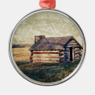 Ländliche Landschaftsgrasland-Western-Landkabine Rundes Silberfarbenes Ornament