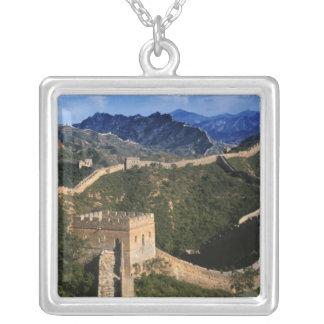Landschaft der großen Wand, Jinshanling, China Versilberte Kette