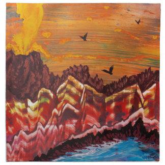 Landschaft des rauchenden Vulkans Serviette