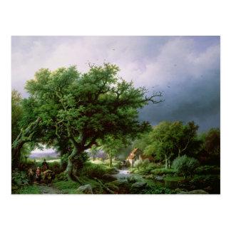 Landschaft mit einer Mühle Postkarte