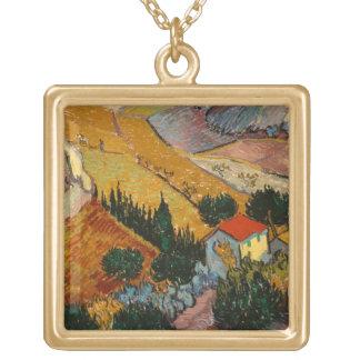 Landschaft Vincent van Goghs | mit Haus u. Halskette Mit Quadratischem Anhänger