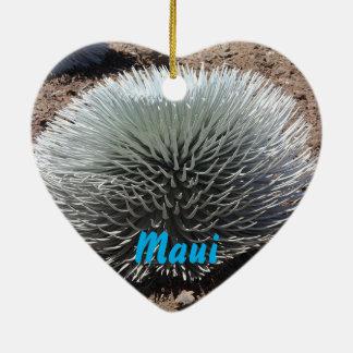 Landschaftliche Weihnachtsverzierung Mauis Hawaii Keramik Herz-Ornament