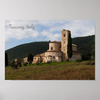 Landschafts-Landschaftshaus Toskana, Italien Poster