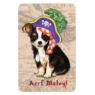 Langer Mantel-Chihuahua-Pirat Magnet