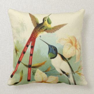 Langes angebundenes Kolibri-Vogel-Blumen-Kissen Kissen