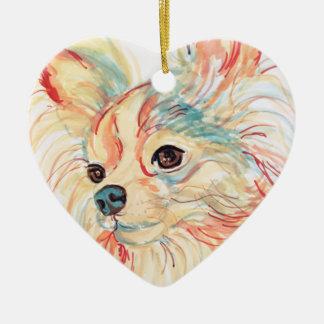 Langhaarige Chihuahua-Pop-Kunst-Verzierung Keramik Herz-Ornament