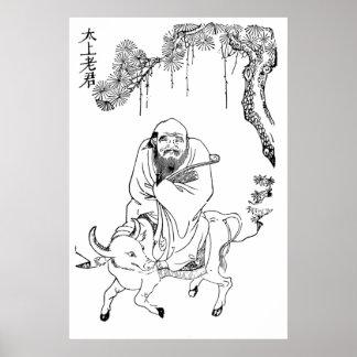 Lao Tzu Ming-Dynastie-chinesische Malerei Poster
