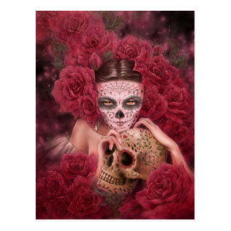 Las Calaveras dunkle Fantasie-Postkarte Postkarte