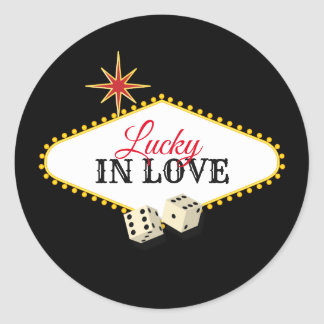 Las Vegas-Festzelt-Hochzeit im Schwarzen Runder Aufkleber