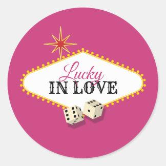 Las Vegas-Festzelt-Hochzeit in der Magenta Runder Aufkleber
