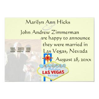 Las- Vegasheirat-Mitteilung mit Hochzeits-Foto 12,7 X 17,8 Cm Einladungskarte