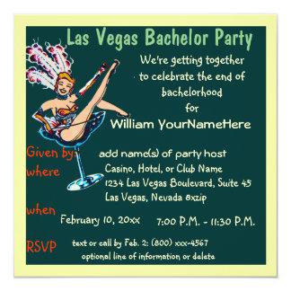 Las- Vegasjunggeselle-PartyShowgirlgrün Quadratische 13,3 Cm Einladungskarte