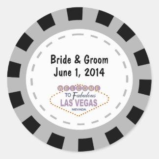 Las- VegasPoker-Chip-Hochzeits-Aufkleber Runder Aufkleber