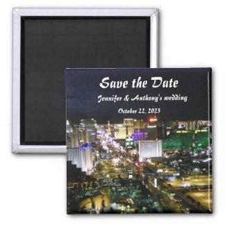 Las- Vegasstreifen-Foto-Hochzeits-Datums-Pläne Quadratischer Magnet