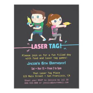 Laser-Umbau-Spiel-Kindergeburtstag-Party 10,8 X 14 Cm Einladungskarte