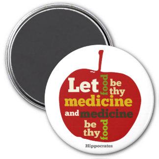 Lassen Sie Nahrung thy Medizin… Hippokrates sein Runder Magnet 7,6 Cm
