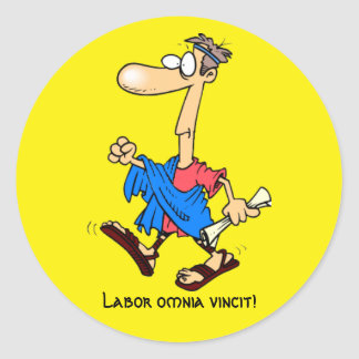 Latein: Arbeitsomnia vincit! Runder Aufkleber
