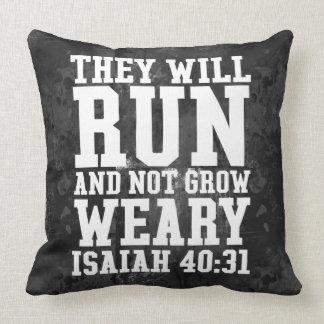 Laufen Sie und müden christlichen Bibel-Betrieb Kissen