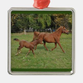 Laufende arabische Pferde - Mamma und Fohlen Silbernes Ornament