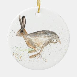 Laufende Hase-Wasserfarbe Keramik Ornament
