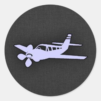 Lavendel-Blau-Flugzeug Runder Aufkleber