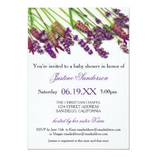 Lavendel-Blumen - Baby-Duschen-Einladung 12,7 X 17,8 Cm Einladungskarte