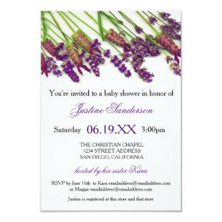 Lavendel-Blumen - Duschen-Einladung des Baby-3x5 8,9 X 12,7 Cm Einladungskarte