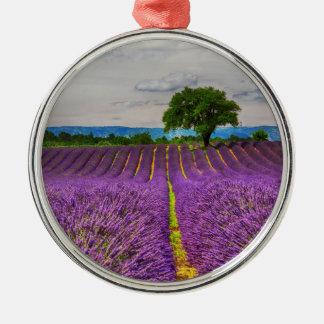 Lavendel-Feld landschaftlich, Frankreich Silbernes Ornament