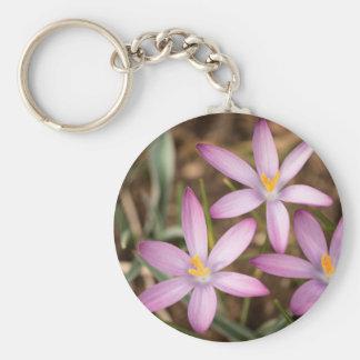 Lavendel-Krokus-Dreieck Standard Runder Schlüsselanhänger