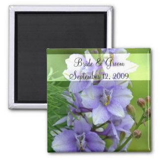Lavendel Larkspur Hochzeit Quadratischer Magnet