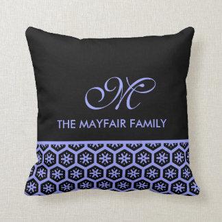 Lavendel-lila Familien-Blumenmuster-Monogramm Kissen