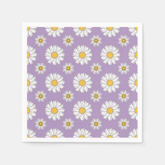 Lavendel-lila weißes Gänseblümchen-Blumenhochzeit Papierservietten