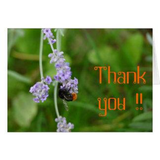 Lavendel mit Hummel Danke Grußkarte