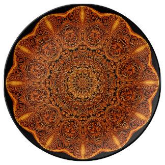 Leatherwork-Mandala-Vignetten-Porzellan-Platte Teller