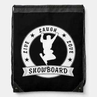 Leben Lachen-Liebe SNOWBOARD 2 Kreis Turnbeutel