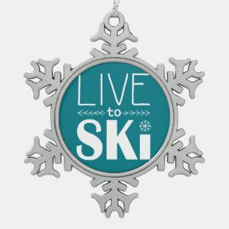 Leben Sie, um Ski zu fahren die aquamarine Schneeflocken Zinn-Ornament