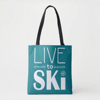 Leben Sie, um Ski zu fahren die aquamarine Tasche