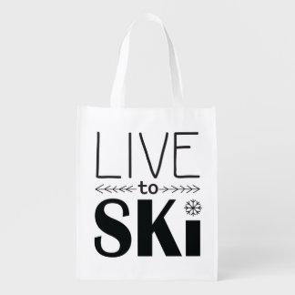 Leben Sie, um Ski zu fahren wiederverwendbare Wiederverwendbare Einkaufstasche