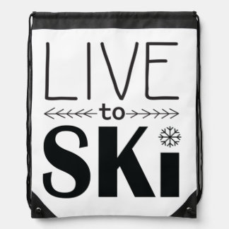 Leben Sie, um Ski zu fahren zeichnen Schnurtasche Sportbeutel