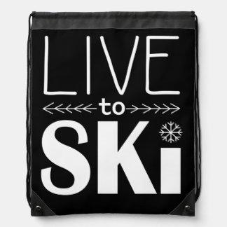 Leben Sie, um Ski zu fahren zeichnen Schnurtasche Turnbeutel