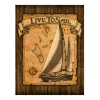 Leben Sie, um zu segeln Postkarte