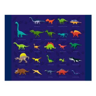 Lebhafte Dinosaurier mit Namen darunterliegend Postkarte