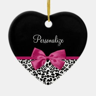 Lebhafter dunkler rosa Band-Leopard-Druck mit Keramik Ornament