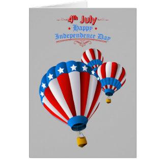 Lebhafter Flagge-am 4. Juli Heißluftballon Grußkarte